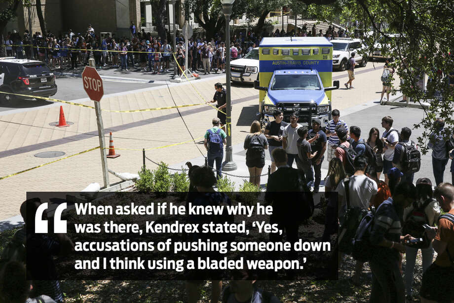 "Kendrex White, a junior biology student at the University of Texas at Austin, was arrested and charged with murder after police said he went on a stabbing spree on May 1, 2017. White told police that voices in his head told him ""it really didn't happen,"" his arrest affidavit shows. Photo: Tamir Kalifa/Austin American-Statesman Via AP"