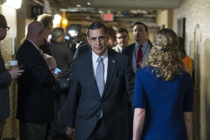 UNITED STATES - APRIL 4: Rep. Darrell Issa, R-Calif., leaves a meeting of the House Republican Conference in the Capitol, April 4, 2017. (Photo By Tom Williams/CQ Roll Call)
