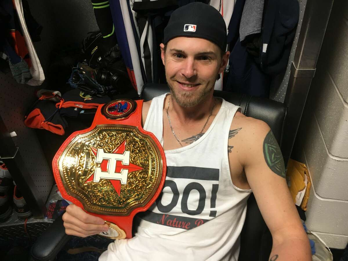 Astros outfielder Josh Reddick is bringing to the Astros a tradition he discovered with the Dodgers last season. The player of each game is awarded with a WWE-style belt.