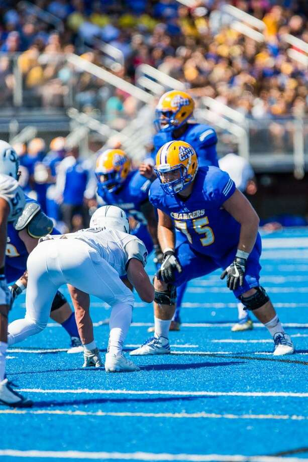 """New Haven left tackle Zach Voytek: """"I'm not as athletic as most (linemen), so I kind of had to take a different approach to compensate for that. I'm very physical. I'm a technician."""" Photo: Courtesy /University Of New Haven"""