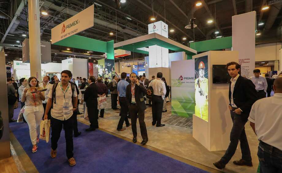 A view of the Pemex booth at the Offshore Technology Conference (OTC 2017) Wednesday, May 3, 2017, in Houston. ( Steve Gonzales  / Houston Chronicle ) Photo: Steve Gonzales, Houston Chronicle / © 2017 Houston Chronicle