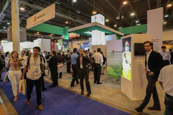 A view of the Pemex booth at the Offshore Technology Conference (OTC 2017) Wednesday, May 3, 2017, in Houston. ( Steve Gonzales  / Houston Chronicle )