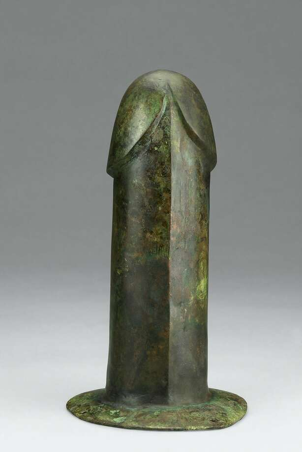 A 2nd century B.C. bronze phallus, unearthed from Tomb 1, Dayun Mountain, Xuyi, Jiangsu, is hollow, smoothly polished and has string holes in the base, indicating that it may have been designed for use. Photo: � Nanjing Museum