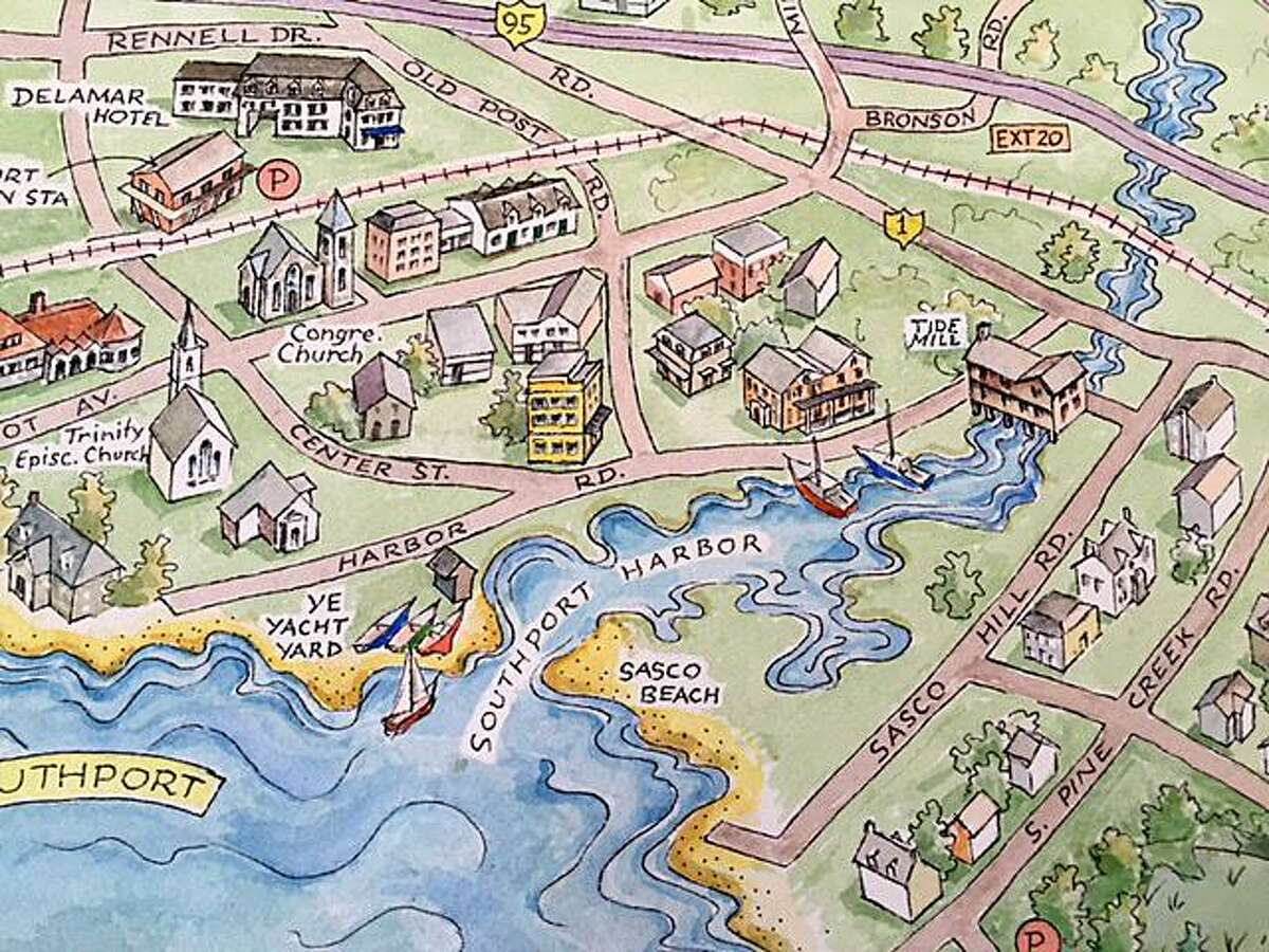 An artist's rendering of the town is featured on the Fairfield Map & Guide.