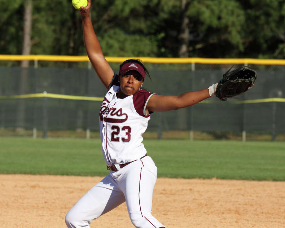 TSU's Jasmin Fulmore, who was named SWAC all-conference pitcher of the year, joined first baseman Sierra Valdez and second baseman Jocilynn Ellis on the all-SWAC tournament team. Photo: TSU Athletics