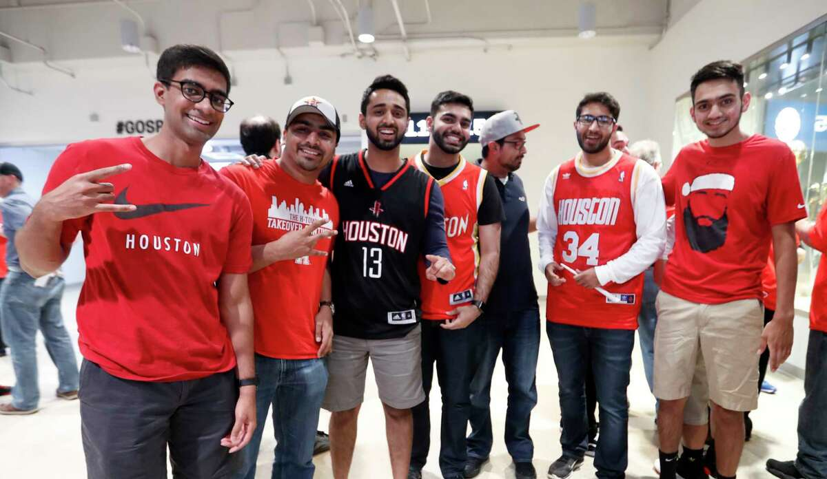Houston Rockets fans before the start of Game 2 of the second-round of the Western Conference NBA playoffs at AT&T Center, Wednesday, May 3, 2017, in San Antonio.