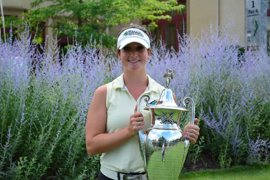 Bailey Cocca of Latham holds the NYS Women's Amateur Championship trophy. (NYSGA photo)
