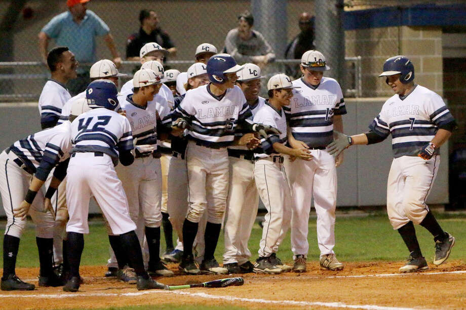 Lamar Consolidated senior catcher Sergio Pena crosses home plate after hitting a home run against Port Lavaca Calhoun. Photo: Courtesy Photo