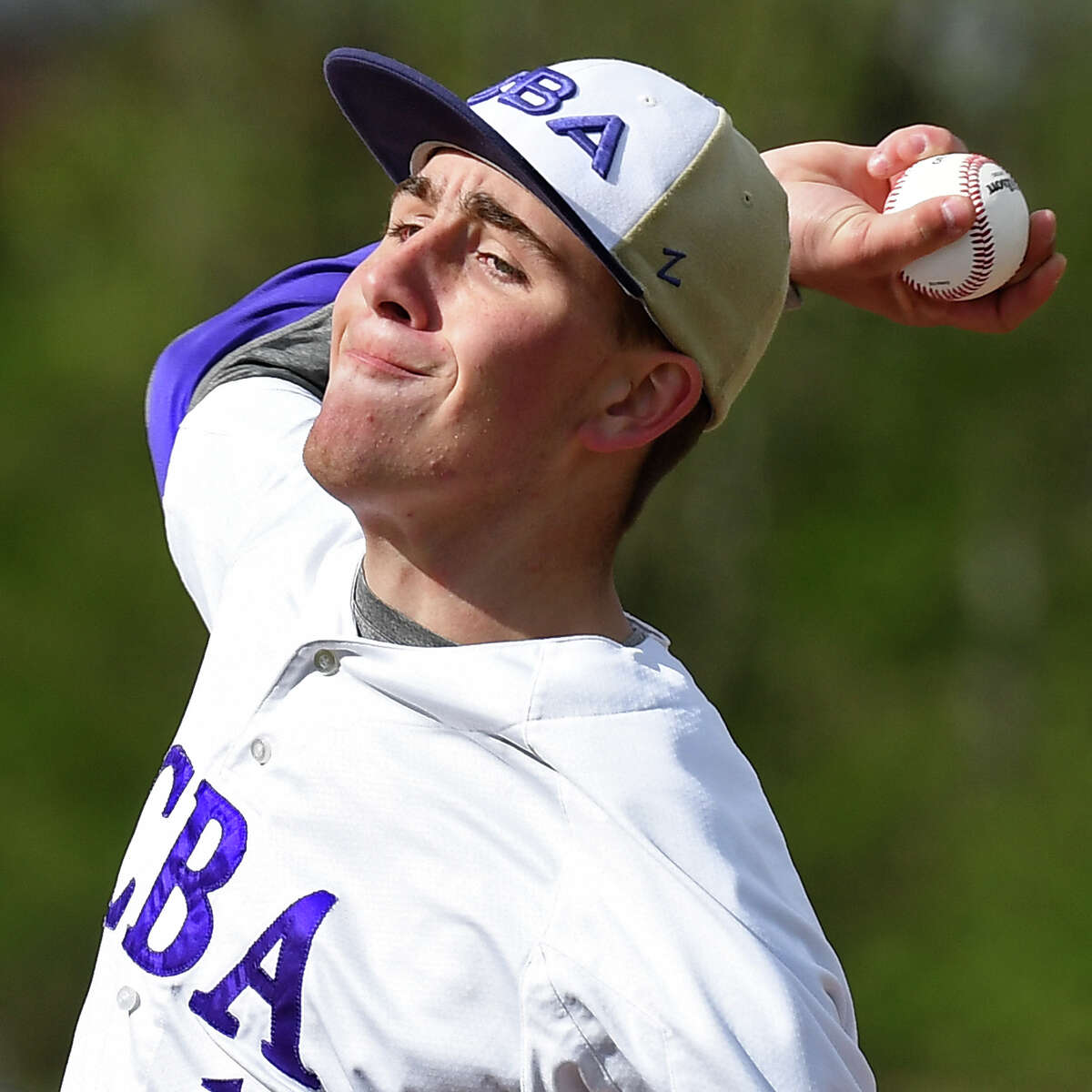 CBA's starting pitcher Jason Rubilotta in action against Niskayuna Wednesday May 3, 2017 in Colonie, NY. (John Carl D'Annibale / Times Union)