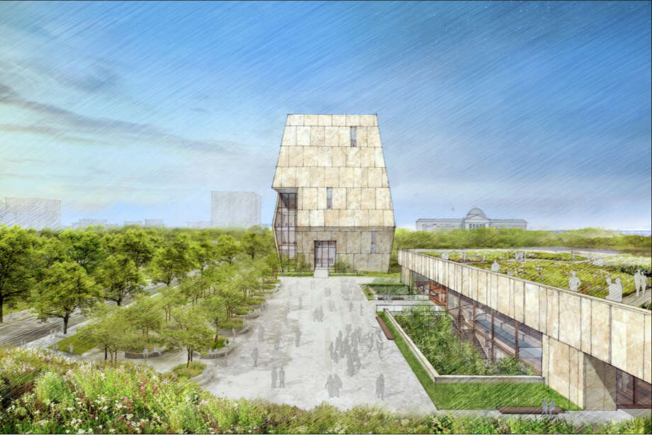 This conceptual drawing released by the Obama Foundation shows the proposed Obama Presidential Center that will be located on Chicago's South Side. Photo: HONS / Obama Foundation