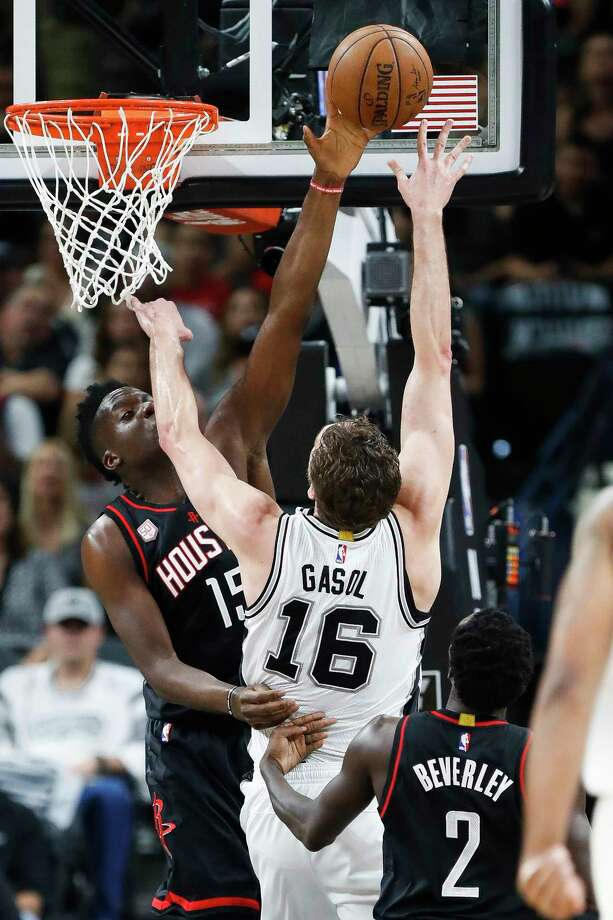 Houston Rockets center Clint Capela (15) blocks a shot by San Antonio Spurs center Pau Gasol (16) during the first half of Game 2 of the second-round of the Western Conference NBA playoffs at AT&T Center,  Wednesday, May 3, 2017, in San Antonio. ( Karen Warren / Houston Chronicle ) Photo: Karen Warren, Staff Photographer / 2017 Houston Chronicle