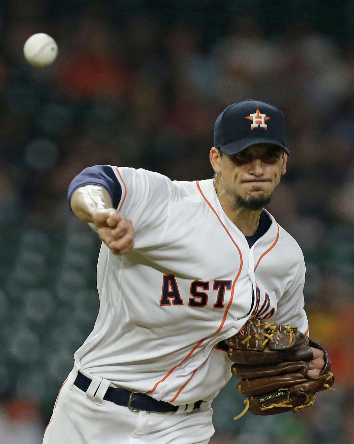 Houston Astros pitcher Charlie Morton throws to keep Texas Rangers Rougned Odor on first base during the first inning at Minute Maid Park Wednesday, May 3, 2017, in Houston. ( Melissa Phillip / Houston Chronicle )
