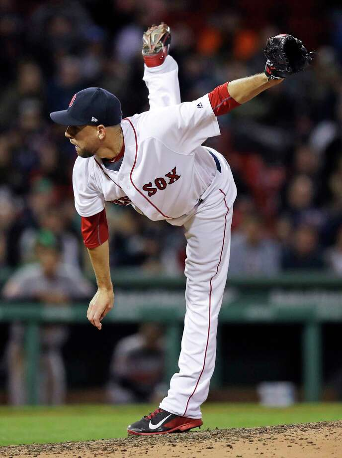 Boston Red Sox relief pitcher Matt Barnes follows through on a delivery during the eighth inning of a baseball game against the Baltimore Orioles at Fenway Park in Boston, Wednesday, May 3, 2017. (AP Photo/Charles Krupa) ORG XMIT: MACK117 Photo: Charles Krupa / Copyright 2017 The Associated Press. All rights reserved.
