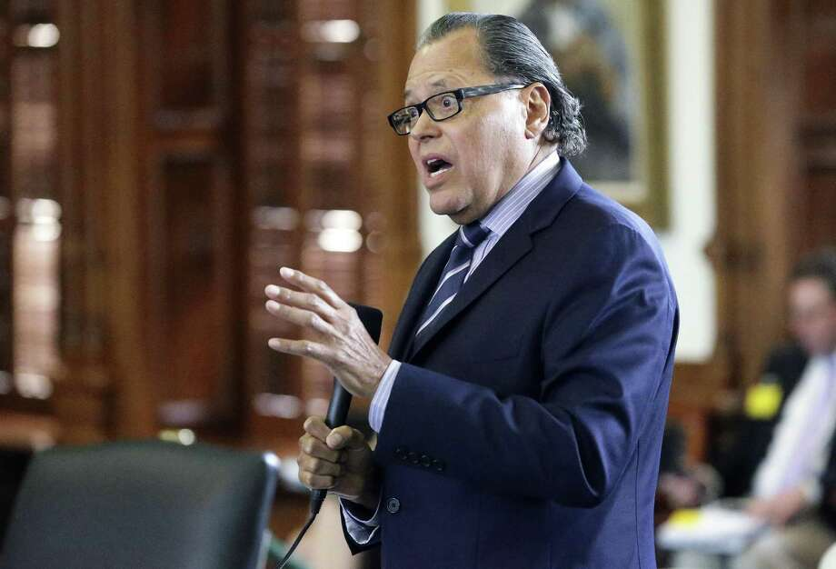 """State Sen. José Rodriguez, D-El Paso, questions Sen. Charles Perry, author of the ban on """"sanctuary cities,"""" during the Senate's debate on accepting changes made by the House. The bill passed on a 20-11 party line vote. Photo: Photos By Tom Reel / San Antonio Express-News / 2017 SAN ANTONIO EXPRESS-NEWS"""