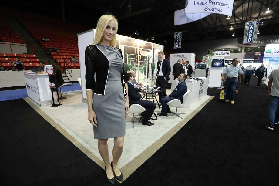 Model Irena Shyshkina has an undergrad-uate degree in mechanical engineering and a master's  in finance. She has  worked eight OTCs. Photo: Steve Gonzales, Staff / © 2017 Houston Chronicle
