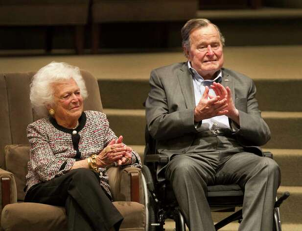 The Mensch International Foundation presented its annual Mensch Award to former President George H.W. Bush and former First Lady Barbara Bush at an awards ceremony hosted by Congregation Beth Israel Wednesday, March 8, 2017, in Houston. Photo: Steve Gonzales, Houston Chronicle / © 2017 Houston Chronicle