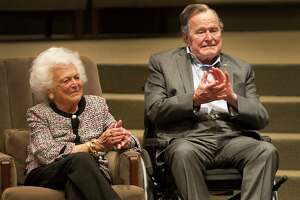 The Mensch International Foundation presented its annual Mensch Award to former President George H.W. Bush and former First Lady Barbara Bush at an awards ceremony hosted by Congregation Beth Israel Wednesday, March 8, 2017, in Houston.