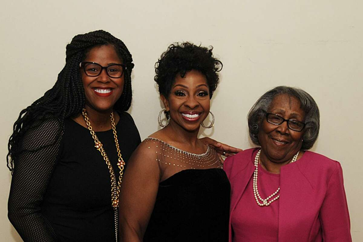 From left, CLC board member, event co-chair and Greenwich resident Thasunda Duckett, singer and songwriter Gladys Knight and Duckett's grandmother Naomi Ruth Levert pose for a photograph at the April 22 fundraiser concert for the Children's Learning Centers of Fairfield County in Stamford, Conn.