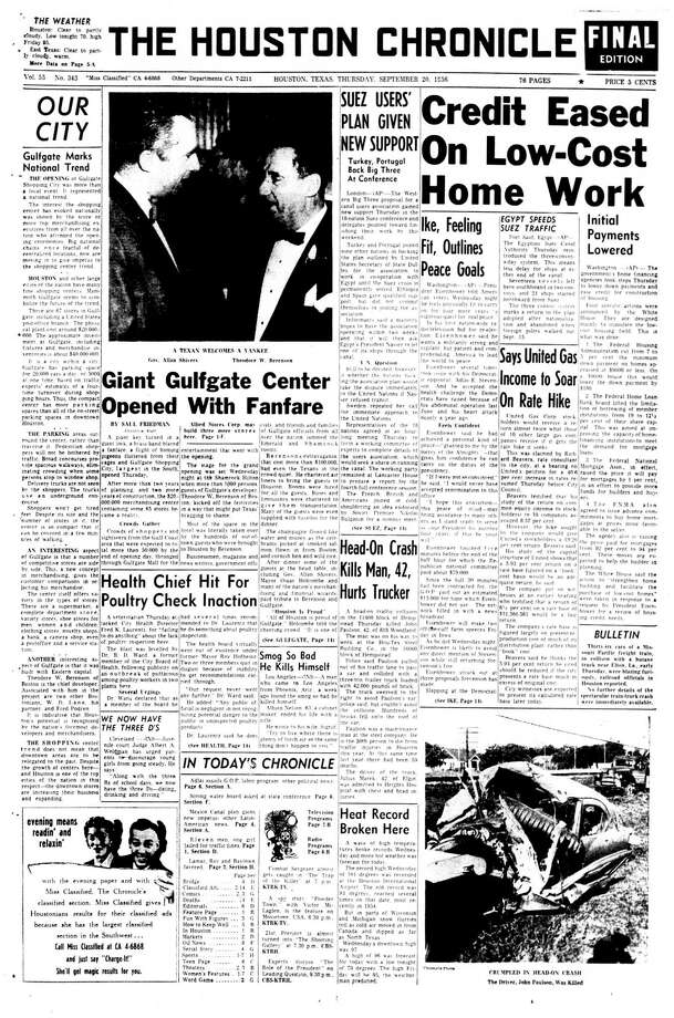 Houston Chronicle front page - September 20, 1956 - section 1, page 1.  Giant Gulfgate Center Opened With Fanfare Photo: HC Staff / Houston Chronicle