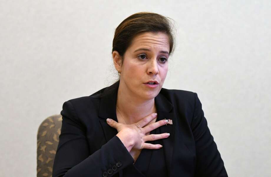U.S. Rep. Elise Stefanik, 21st CD, speaks to the Times Union editorial board on Tuesday, Oct. 18, 2016, at the Times Union in Colonie, N.Y. (Will Waldron/Times Union)
