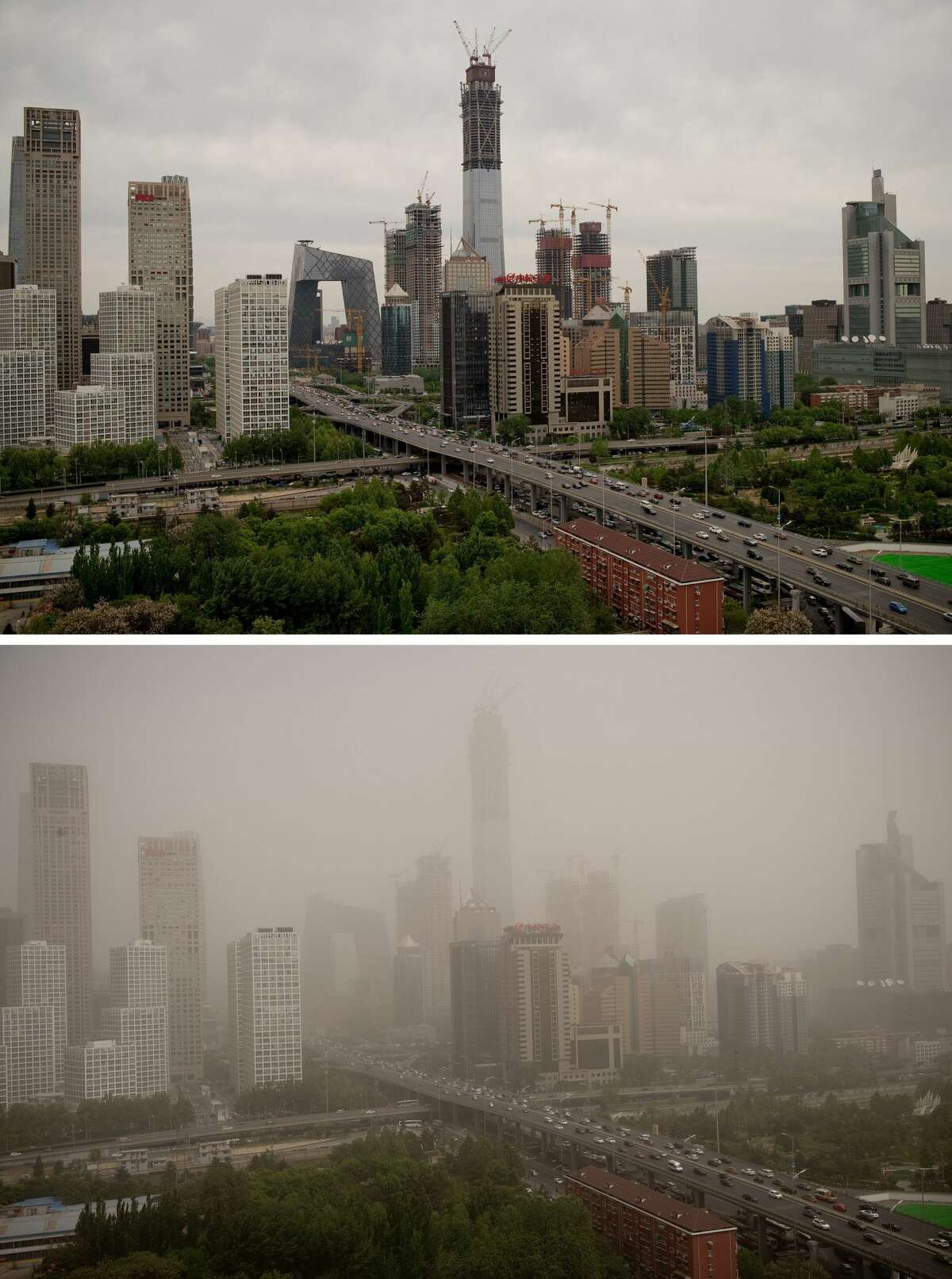 (COMBO) This combo shows an image (top) of Beijing's central business district on April 25, 2017 and the same view (bottom) on May 4, 2017 after the Chinese capital was hit by a dust storm. A major dust storm engulfed northern China and Beijing on May 4, prompting authorities to cancel dozens of flights and urge children and the elderly to stay indoors. / AFP PHOTO / Nicolas ASFOURI (Photo credit should read NICOLAS ASFOURI/AFP/Getty Images)