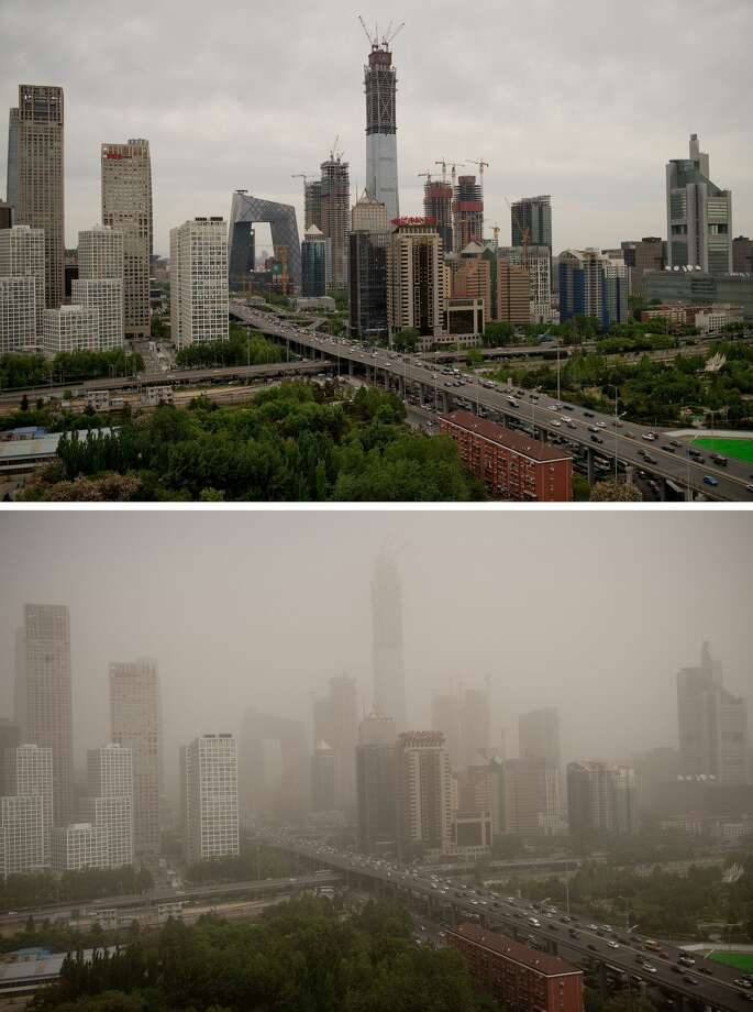 (COMBO) This combo shows an image (top) of Beijing's central business district on April 25, 2017 and the same view (bottom) on May 4, 2017 after the Chinese capital was hit by a dust storm. A major dust storm engulfed northern China and Beijing on May 4, prompting authorities to cancel dozens of flights and urge children and the elderly to stay indoors. / AFP PHOTO / Nicolas ASFOURI        (Photo credit should read NICOLAS ASFOURI/AFP/Getty Images) Photo: NICOLAS ASFOURI/AFP/Getty Images