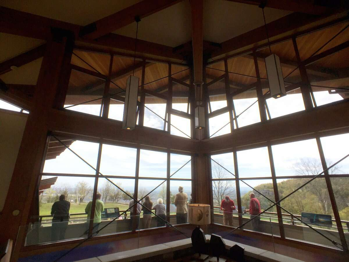 A crowd gathers on Thursday, May 4, 2017, at the newly opened Thacher Park Center, the visitors center for Thacher Park in New Scotland. (Paul Buckowski/Times Union)