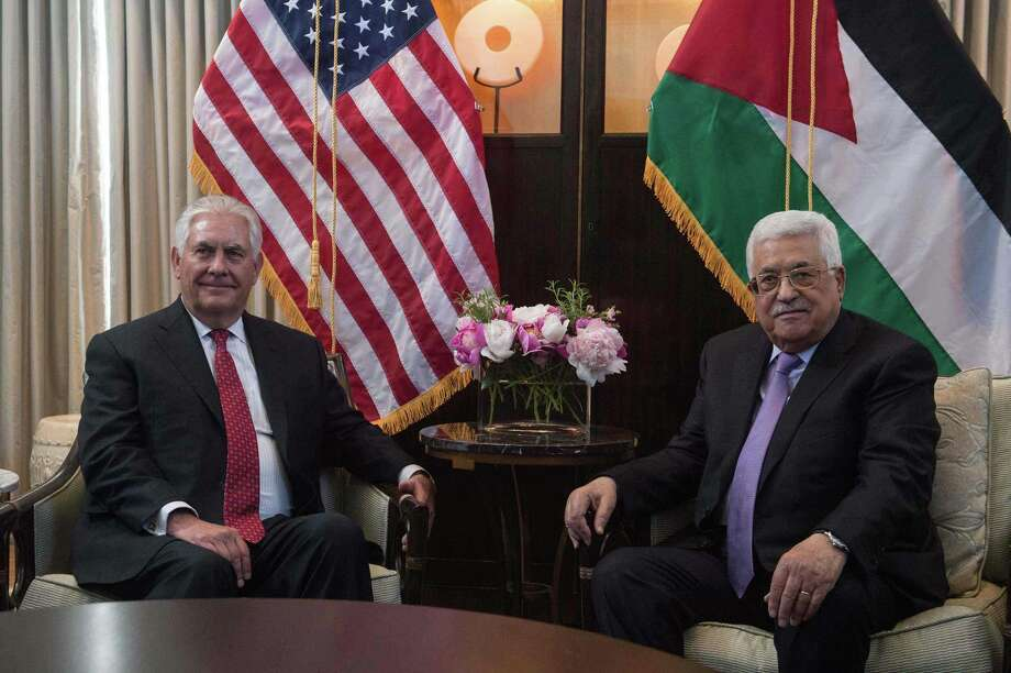 US Secretary of State Rex Tillerson meets with Palestinian president Mahmud Abbas in Washington, DC, on May 3, 2017. / AFP PHOTO / NICHOLAS KAMMNICHOLAS KAMM/AFP/Getty Images Photo: NICHOLAS KAMM, Staff / AFP/Getty Images / AFP or licensors