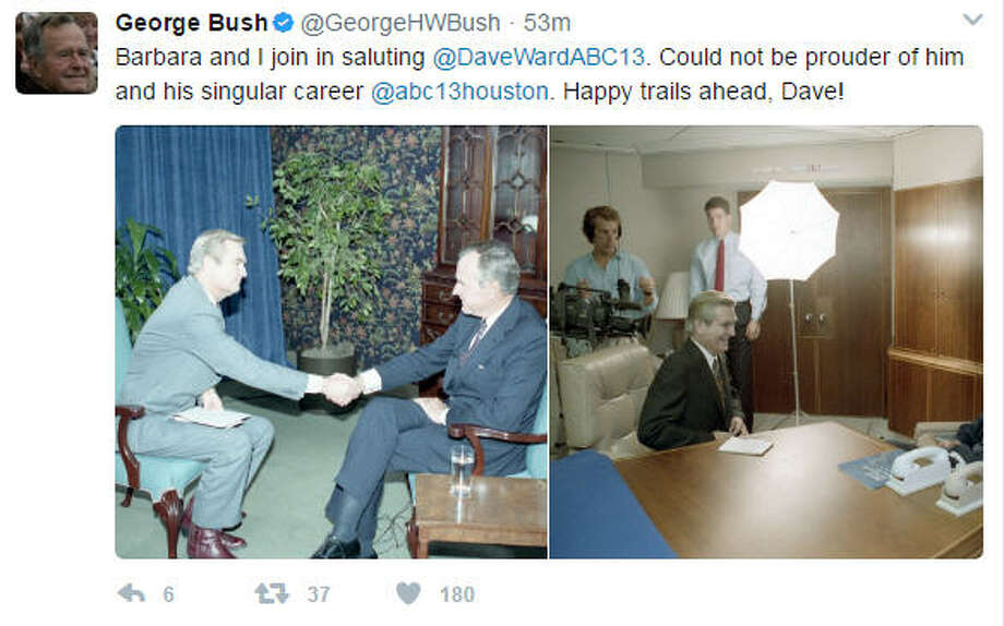 On Thursday morning former President George H.W. Bush congratulated Houston newsman Dave Ward.Keep going for more photos from Houston's celebration of Dave Ward's long career in local news.Photo: George H.W. Bush on Twitter Photo: George H.W. Bush Twitter
