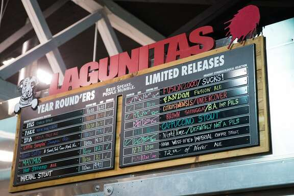 Lagunitas' menu of 20 beers at their new Ballard tap room at the old Hilliard's location, on Saturday, Feb. 18, 2017. (GRANT HINDSLEY, seattlepi.com)