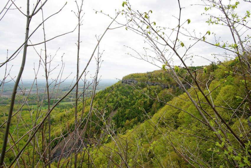 A view of some of the cliffs at Thatcher Park on Thursday, May 4, 2017, in Voorheesville, N.Y. (Paul Buckowski / Times Union)