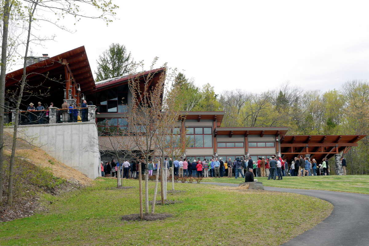 Click through for a slideshow of latest upgrades at Capital Region state parks. A view of the new 8,240 square-foot Thacher Park Center during a grand opening ceremony on Thursday, May 4, 2017, in Voorheesville, N.Y. (Paul Buckowski / Times Union)