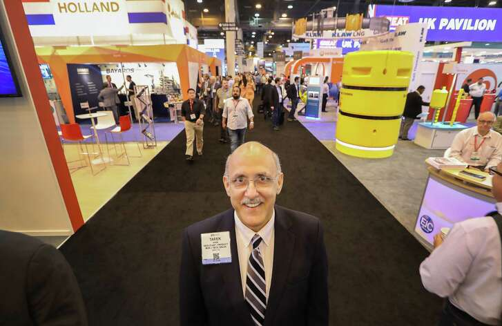 Tarek Ghazi, is photographed  at the Offshore Technology Conference (OTC 2017) Thursday, May 4, 2017, in Houston. Tarek, who was laid off in November after the offshore job market hasn't recovered as fast as the onshore shale industry, is one of many highly trained professionals  still looking for work.