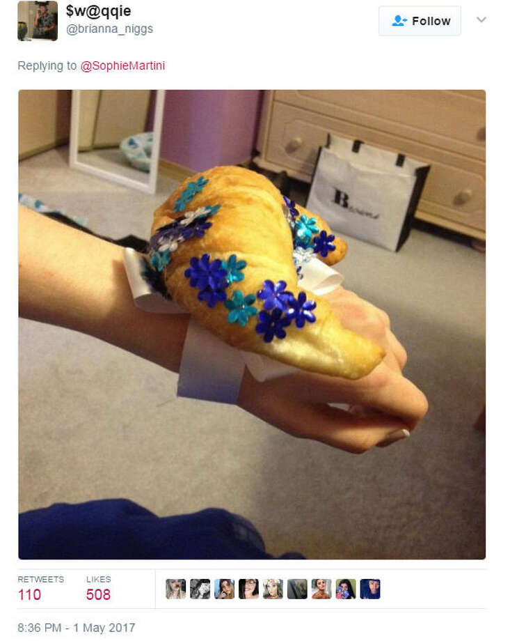 A Texas teen is facing the consequences after he mistakenly called a corsage, a croissant and his date posted the moment to Twitter. However embarrassing, at least it's not as bad as other people's experiences.Photo: Twitter