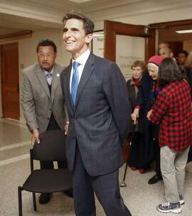 Former San Francisco supervisor and state Sen. Mark Leno talks with press after he initializes his intent to run for mayor at the department of elections on Thursday, May 4, 2017, in city hall in San Francisco, Calif.