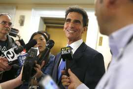 Former San Francisco supervisor and state Sen. Mark Leno talks to press after he initializes his intent to run for mayor at the elections office on Thursday, May 4, 2017, in city hall in San Francisco, Calif.
