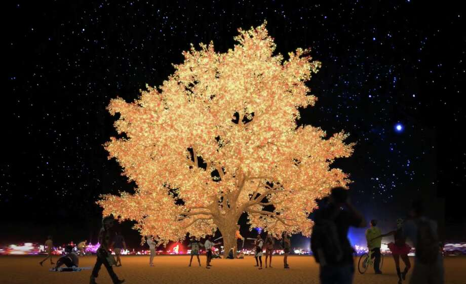 A rendering of the Tree of Ténéré at night. Photo: Courtesy Of Tree Of Tenere