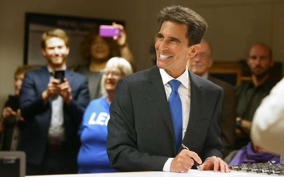 Former San Francisco supervisor and state Sen. Mark Leno initializes his intent to run for mayor at the department of elections on Thursday, May 4, 2017,  in city hall in San Francisco, Calif. Photo: Liz Hafalia, The Chronicle