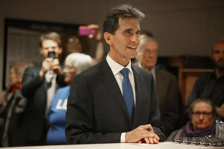 Former San Francisco supervisor and state Sen. Mark Leno initializes his intent to run for mayor at the department of elections on Thursday, May 4, 2017,  in city hall in San Francisco, Calif.