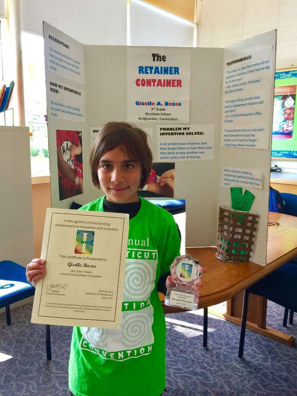 Inventor of the Retainer Container, Burnham School third-grader Giselle Bazos will visit Washington D.C. in early June to present at the National Invention Convention and Entrepreneurship Expo.