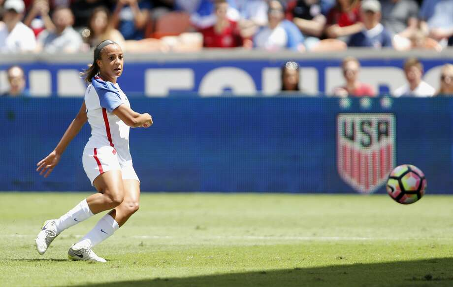 HOUSTON, TX - APRIL 09: Mallory Pugh #2 of the U.S. takes a shot on goal in the first half against Russia during the International Friendly soccer match at BBVA Compass Stadium on April 9, 2017 in Houston, Texas.  (Photo by Tim Warner/Getty Images) Photo: Tim Warner/Getty Images