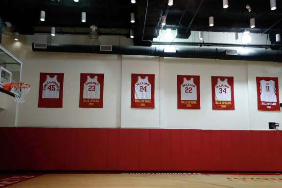 Former center Yao Ming has recently been added to the Hall of Fame at the Rockets practice facility at the Toyota Center, Thursday, May 4, 2017, in Houston.