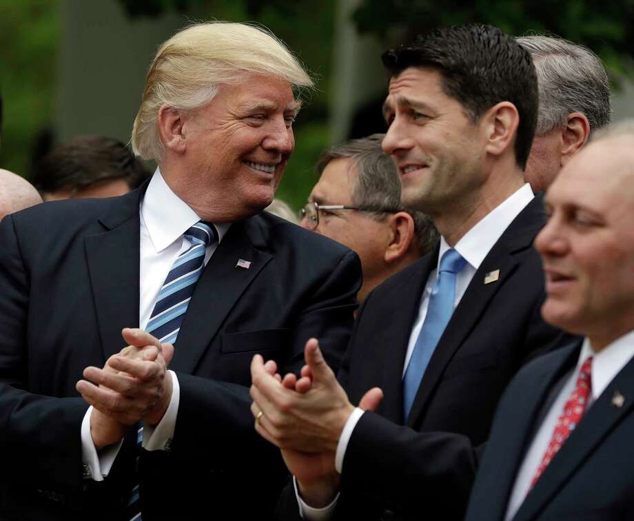 President Donald Trump talks to House Speaker Paul Ryan of Wis.  in the Rose Garden of the White House in Washington, Thursday, May 4, 2017, after the House pushed through a health care bill. Photo: Evan Vucci, AP / Copyright 2017 The Associated Press. All rights reserved.