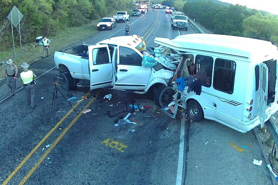 A National Transportation Safety Board photo shows the aftermath of a March 29, 2017 collision in Uvalde County that killed 13 people and injured two others.