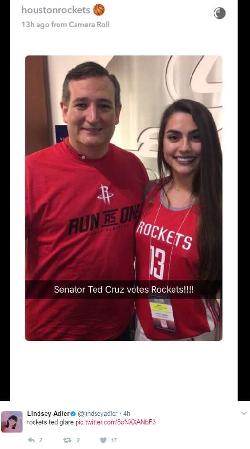 """rockets ted glare,"" @lindseyadler.While Sen. Ted Cruz might root for the Houston Rockets, keep clicking to see which celebrities cheer for the San Antonio Spurs."