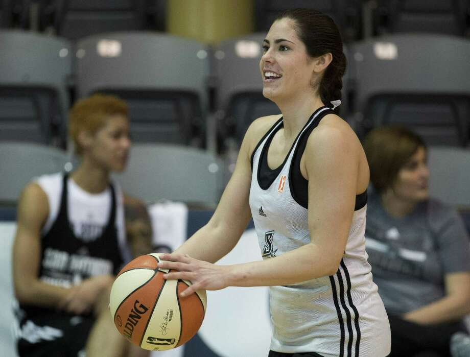 Stars rookie Kelsey Plum practices 3-pointers on the first day of training camp. Photo: Darren Abate /For The Express-News / San Antonio Express-News
