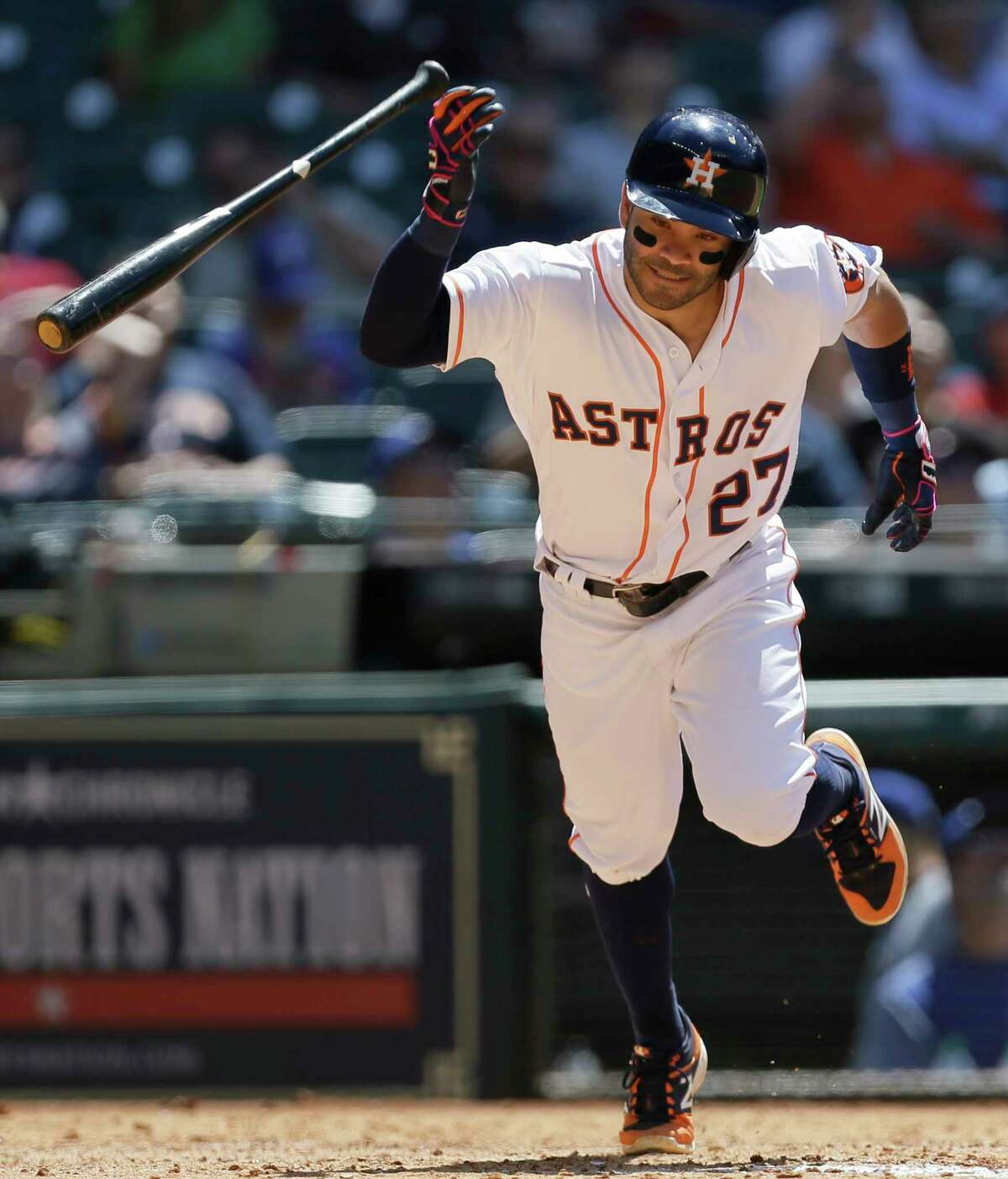Houston Astros Jose Altuve flips his bat as he pops out against Texas Rangers during the fifth inning at Minute Maid Park Thursday, May 4, 2017, in Houston.