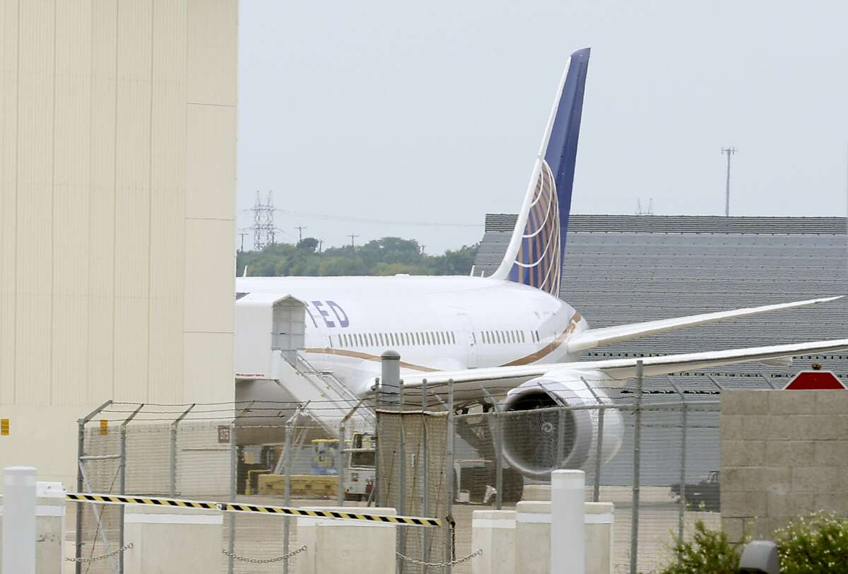 United Airlines plane at Boeing on Kelly Field, photographed Wednesday May 8, 2013.