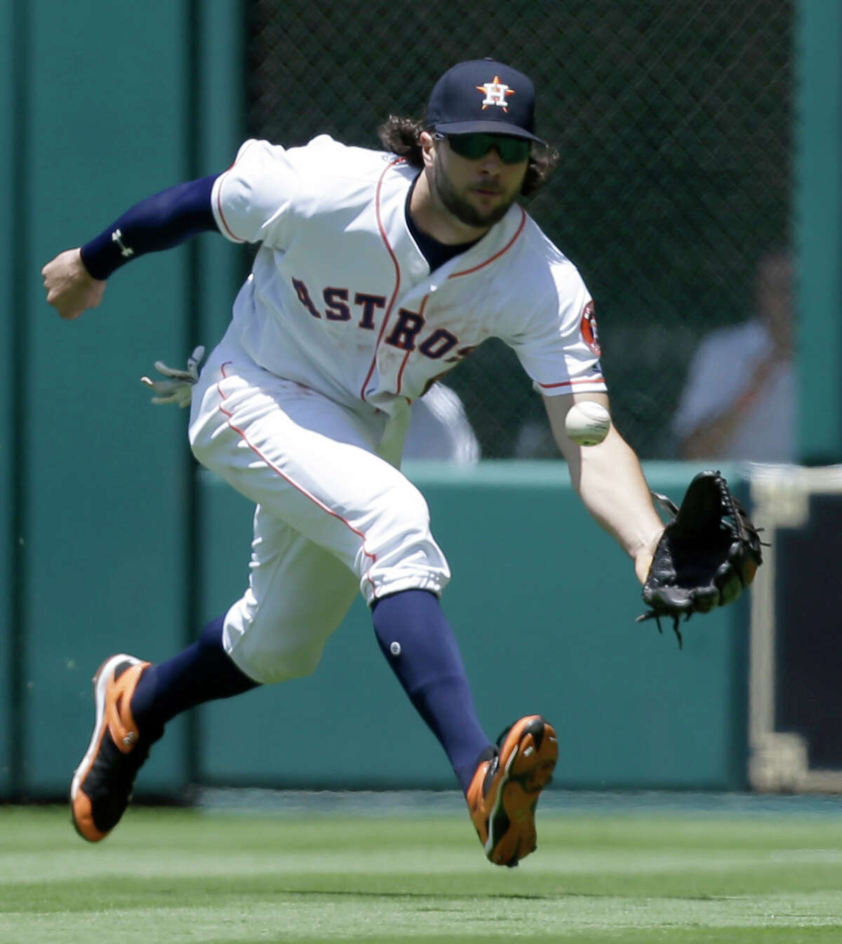 Houston Astros center fielder Jake Marisnick is playing left field against the Angels Sunday because left field is larger than usual. Manager A.J. Hinch wants someone there who can cover a lot of ground.