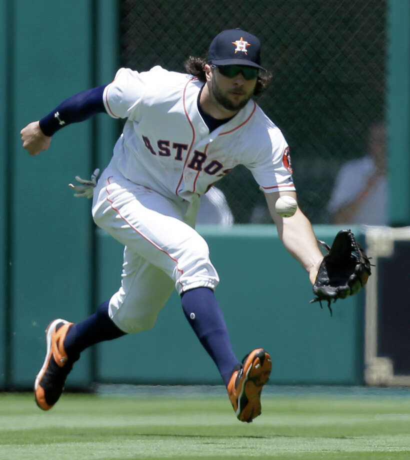 Houston Astros center fielder Jake Marisnick is playing left field against the Angels Sunday because left field is larger than usual. Manager A.J. Hinch wants someone there who can cover a lot of ground. Photo: Melissa Phillip, Houston Chronicle / © 2017 Houston Chronicle